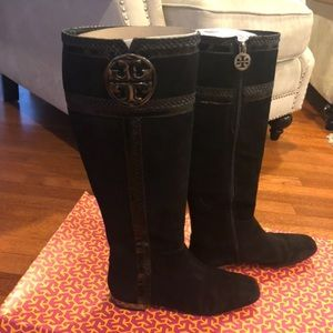 Tory Burch Sabina suede/snake boots 6.5